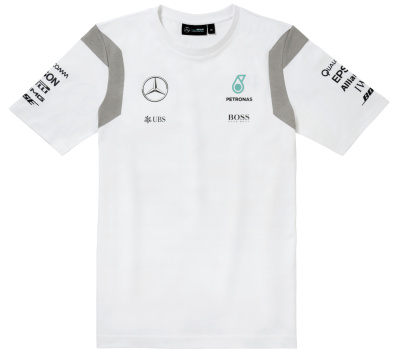 Мужская футболка Mercedes Men's T-shirt, F1 Driver, White