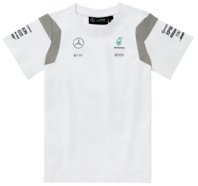 Детская футболка Mercedes Children's T-shirt, F1 Driver, White