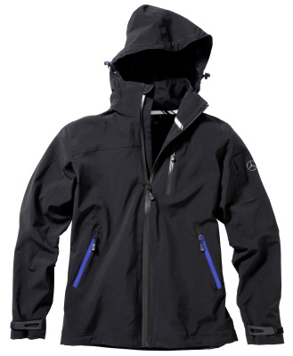 Мужская флисовая куртка Mercedes Men's Softshell Jacket, Black-Blue Details