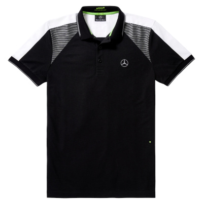 Мужская футболка поло Mercedes-Benz Men's Polo Shirt, Boss Green, Black/Grey/White