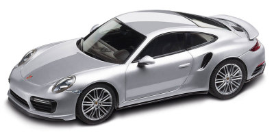 Модель автомобиля Porsche 911 Turbo Coupé (991 II), Scale 1:43, Rhodium Silver Metallic