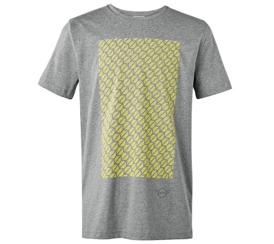 Мужская футболка MINI Men's T-Shirt Signet, Grey/Lemon