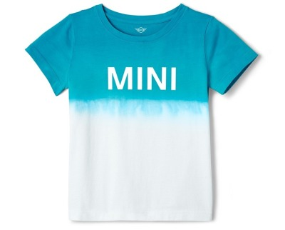 Детская футболка MINI T-Shirt Kids Dip-Dye, White/Aqua