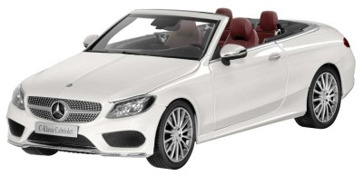 Модель Mercedes-Benz C-Class Cabriolet, Designo Diamond White Bright, Scale 1:18