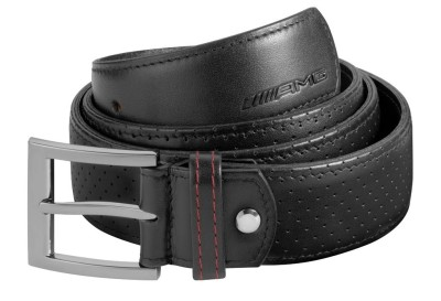 Мужской кожаный ремень Mercedes-Benz Belt, AMG, Black, Leather/Stainless Steel