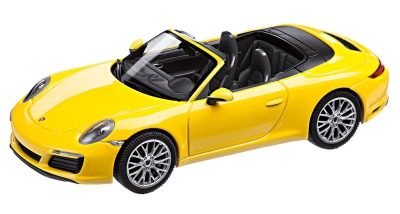 Модель автомобиля Porsche 911 (991 II) Carrera 4S Cabrio, Scale 1:43, Racing Yellow