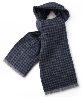Шерстяной шарф унисекс Jaguar Houndstooth Print Scarf, Navy/Grey