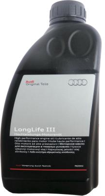 Моторное масло Audi LongLife III Motor Oli, 5W30, 1L