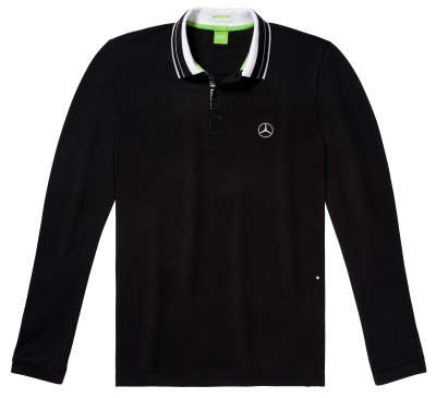 Мужская рубашка-поло Mercedes-Benz Men's Longsleeved Polo Shirt, Hugo Boss, Black/White