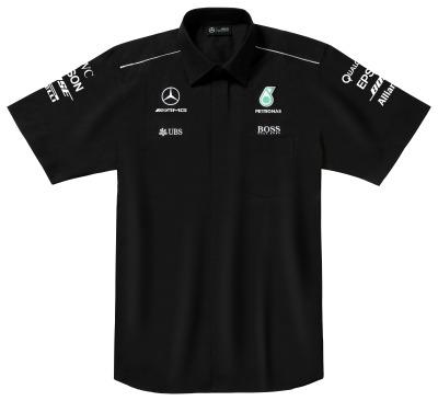Мужская рубашка с коротким рукавом Mercedes F1 Men's Shirt, Team 2017, Black