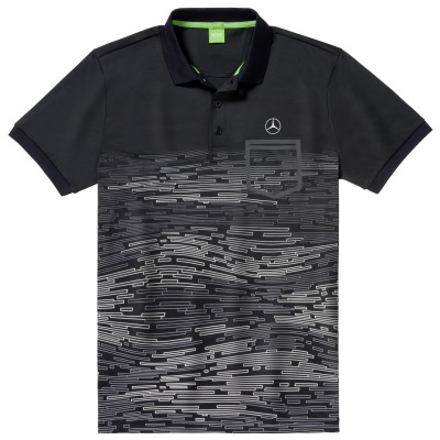 Мужская рубашка-поло Mercedes-Benz Men's Polo Shirt, Hugo Boss, Black/White/Silver
