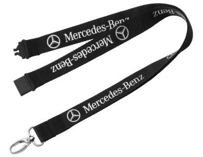 Шнурок с карабином для ключей Mercedes-Benz Classic Star Lanyard, Black 2017