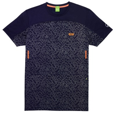 Мужская футболка Mercedes Men's Performance T-shirt, Navy/Coral, by Hugo Boss
