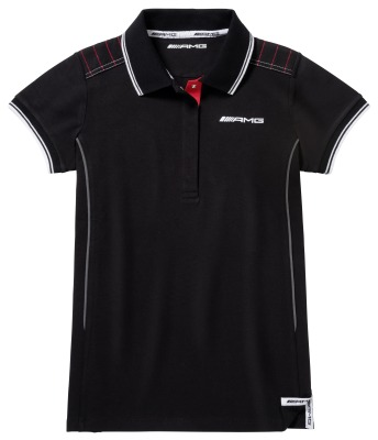 Женское поло Mercedes Women's Polo Shirt AMG, Black/Red