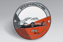 Эмблема на решетку радиатора Porsche Grille badge RS 2.7 Limited edition, grey/orange