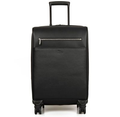 Кожаный чемодан Jaguar Carry On 4-Wheel Cabin Case, Black