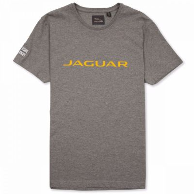 Мужская футболка Jaguar Men's Wordmark Graphic T-shirt, Grey Marl / Yellow