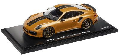 Модель автомобиля Porsche 911 Turbo S Exclusive Series – Limited Edition, Scale 1:18, Golden Yellow Metallic