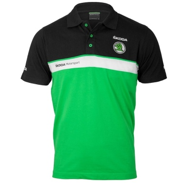 Мужская рубашка-поло Skoda Men's Motorsport Polo Shirt, Black/Green
