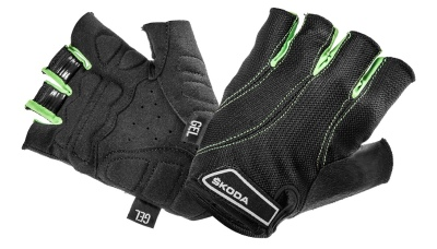 Велоперчатки Skoda Cycling Gloves, Gel Padding, Black/Green