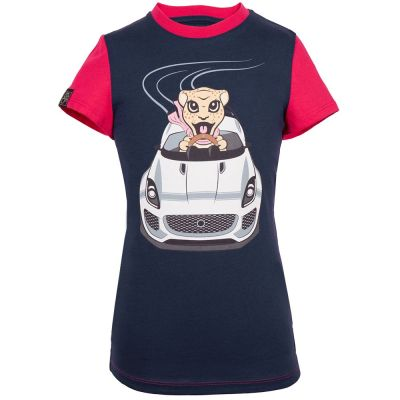 Футболка для девочек Jaguar Girls' Car Graphic T-Shirt, Navy/Pink