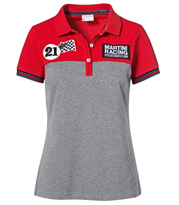 Женское поло Porsche Women's Polo Shirt, Martini Racing Collection, Red/Melange