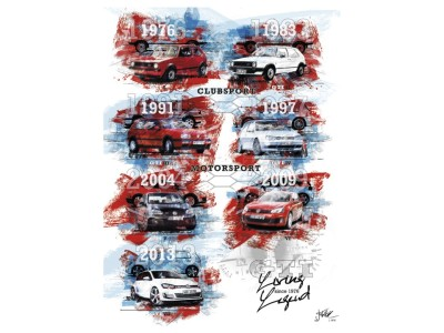 Памятный юбилейный плакат Volkswagen GTI Art Reproduction, Generation I-VII