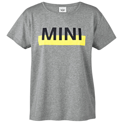 Женская футболка Mini T-Shirt Women's Wordmark Colour Block, Grey/Lemon
