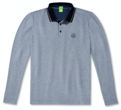 Мужская рубашка поло Mercedes-Benz Men's Polo Shirt, Boss Green, Grey / Blue