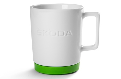 Фарфоровая кружка Skoda Mug with Green Silikone Pad, White/Green