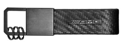 Брелок Mercedes-Benz Key Ring, AMG, Carbon Fibre, Black, Carbon Leather