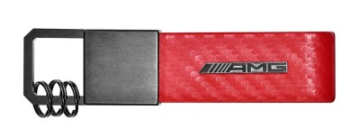 Брелок Mercedes-Benz Key Ring, AMG, Carbon Fibre, Red, Carbon Leather