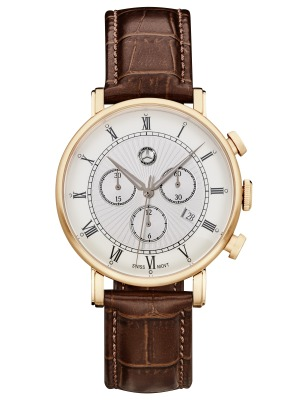 Мужские наручные часы Mercedes-Benz Men's Chronograph Watch, Classic Retro Gold