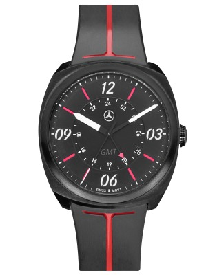 Мужские наручные часы Mercedes-Benz Men's Watch, Sporty GMT, Black / Red / White