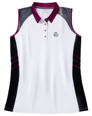 Женская рубашка-поло Mercedes Women's Golf Polo Shirt, White / Black / Plum