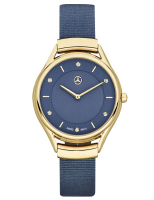 Женские наручные часы Mercedes-Benz Women's Watch, Fashion Gold, Yellow gold-coloured / Blue