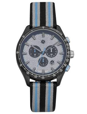 Мужские наручные часы Mercedes-Benz Men's Chronograph Watch, Motorsport, Silver/Blue/Black