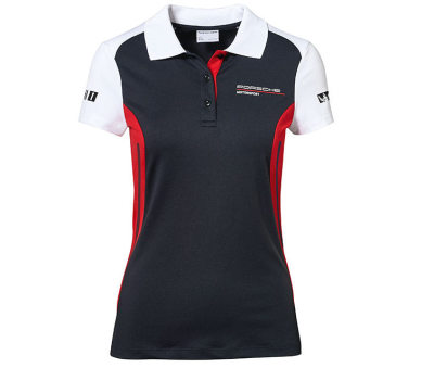 Женское поло Porsche Women's Polo Shirt, Motorsport, Black/White/Red