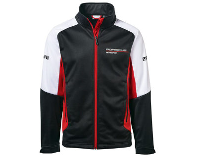 Легкая мужская куртка Porsche Men's Soft Shell Jacket, Motorsport, Black/White/Red