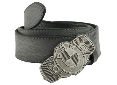 Кожаный ремень BMW Motorrad Logo Leather Belt, Grey