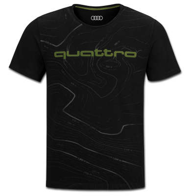 Мужская футболка Audi quattro Mens T-Shirt, Black/Green