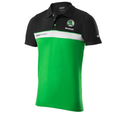 Мужская рубашка-поло Skoda Men's Motorsport Polo Shirt, Black/White/Green