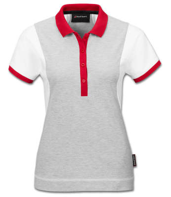 Женская рубашка-поло Audi Sport Poloshirt, Womens, white/grey