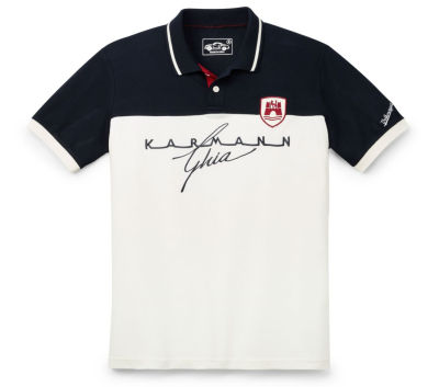 Мужская рубашка-поло Volkswagen Classic Men's Polo Shirt, Karmann Ghia, Beige/Blue