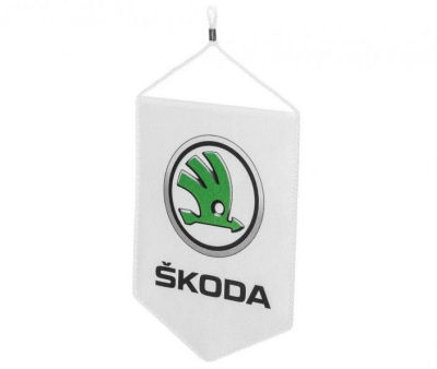 Подвесной флаг Skoda Table Flag, White/Green