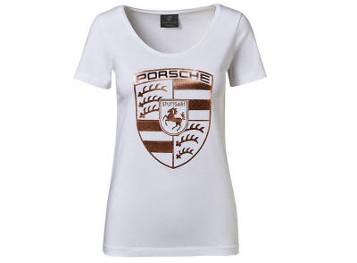 Женская футболка Porsche Crest T-shirt, Ladies, White/Rose Gold