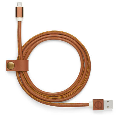 Кожаный кабель USB Volvo Leather Charger Cable Android, Cognac