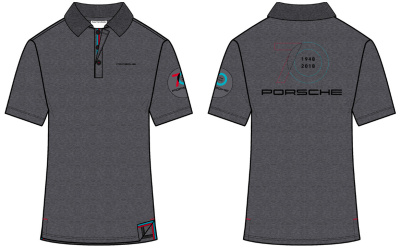 Юбилейная рубашка-поло Porsche Polo Shirt, 70 Year Anniversary, Unisex, Dark Grey