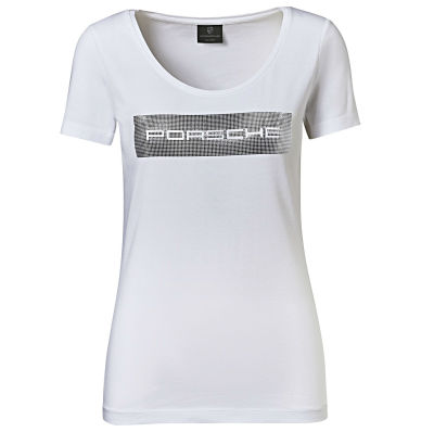 Женская футболка Porsche Logo T-shirt, Ladies, White/Silver