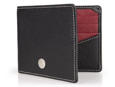 Кожаный кошелек Jaguar Heritage Wallet, Black/Burgundy Leather
